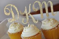 Glitter gold letters cake topper for baby shower favors