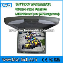"14.1"" Roof Mounting Car DVD Monitor with USB/SD/Wireless Gams"
