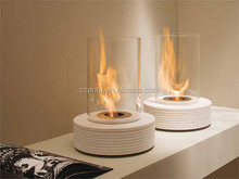 2015 new mini round ethanol black metal/glass table fireplace in white