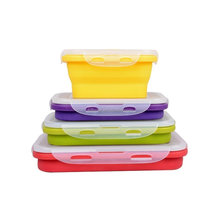 Set of 4 Stackable Food Storage Containers Silicone Collapsible Lunch Box