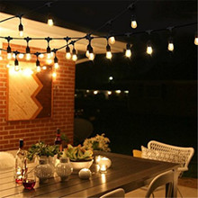 LED Outdoor Commercial String Lights, 48ft with 15 Dropped Sockets, 2W LED S14 LED Bulbs included - Weatherproof Vintage Edison