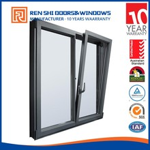 double low e glass tilt and turn aluminium windows with German hardware