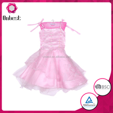 pink lace-up party skirt long skirt girls' dress children cocktail dress for kids