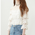 2016 Fashion women 3/4 sleeve halter lace blouse, lady off-shoulder lace blouse, wholesale casual lace top for lady