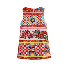 Bohemia Style Little <strong>Girl's</strong> <strong>Dress</strong> Printing O-Neck Summer Sleeveless <strong>Dress</strong>