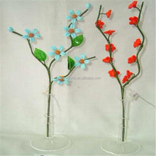 Set of beautiful decorative glass flowers with slender mouth glass vase