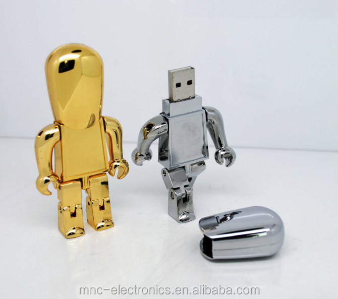 Promotion gift robot shape water proof usb flash drive 2G 64G customized logo memory stick