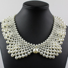 Fashion Statement Pearl Chunky Choker Necklace Multilayer Jewelry Women