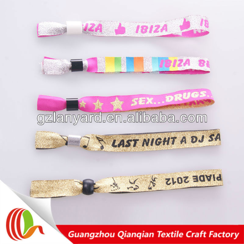 polyester fabric gold woven event wristband