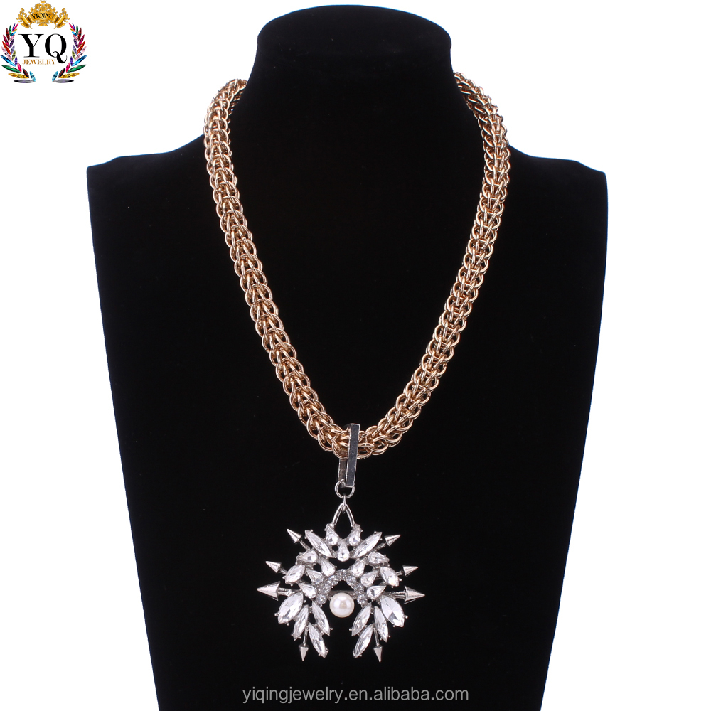 NYQ-00431 wheat chain arrow crystal pendant necklace with pearl for women