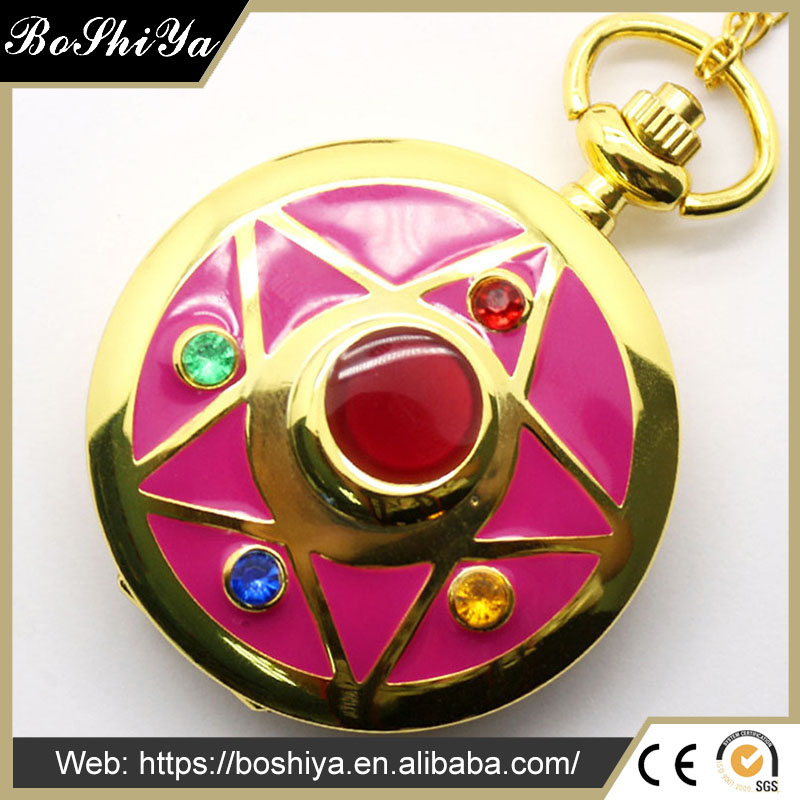 2017 Ladies golden Girl Necklace Girls Pendant Women Quartz Pocket Watch wholesale