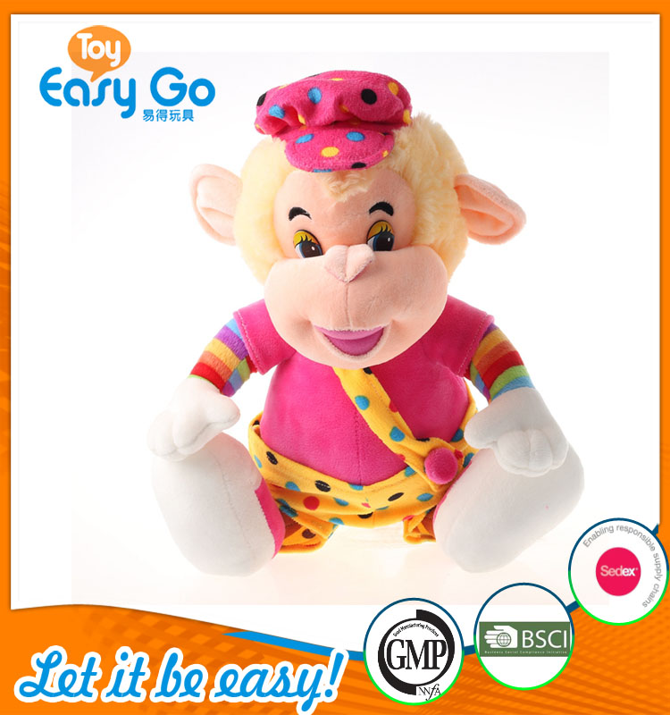 colorful monkey plush toys with a hat
