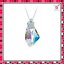 colorful crystal neckalce, 925 sterling silver jewelry, shiny girl's necklace