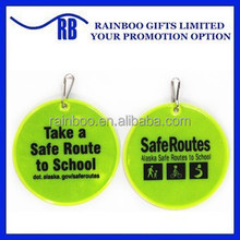 High quality hot selling safety cloth shape Pvc soft reflective tag with keychain for promotion