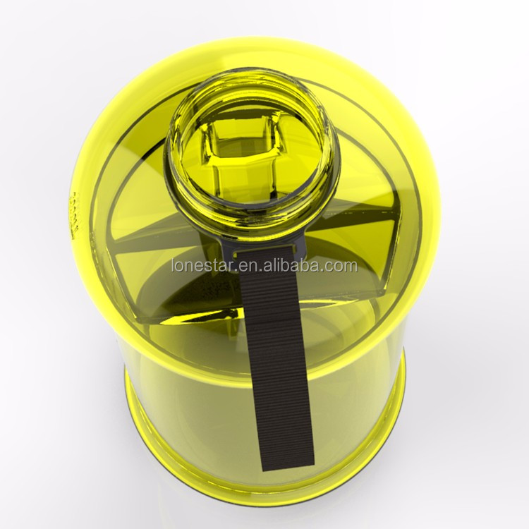 YELLOW COLOR 2.2L BPA FREE plastic gym water bottle for whey protein