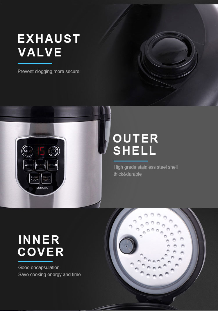 Wholesale deluxe 1.8l smart iranian brand baby food stainless steel aluminum pot national electric multi rice cooker