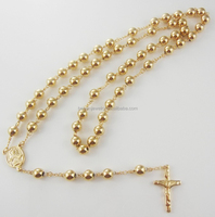 stainless steel rosary bead necklace