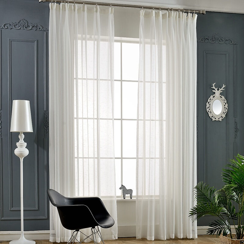 100% polyester fabric white sheer for window curtain