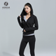 Hot Sale Cheap Black Nylon Yoga Tank Top And Jacket And Pants Yoga Set Wear for Girls