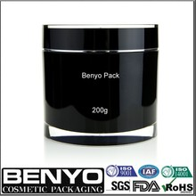 luxury black round acrylic jar Cosmetic plastic facial cream jar 200g