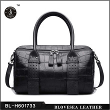 Crocodile Skin Solid Color Soft Boston Genuine Trend Leather Handbag