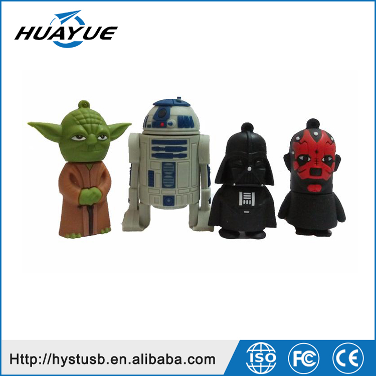The Best Selling 2016 New Star War USB 2.0 R2D2 Flash Drive Silicone Flash With Full Capacity