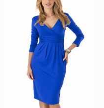 Big Size Ladies Office Work Dress Elegant V-neck Long Sleeve Pleated Slim Dress 6 Colors Bodycon Package Hip Vestidos M0404