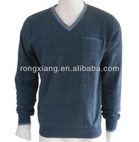 New design beautiful Heart shape-neck pullover knitted cashmere sweater for men