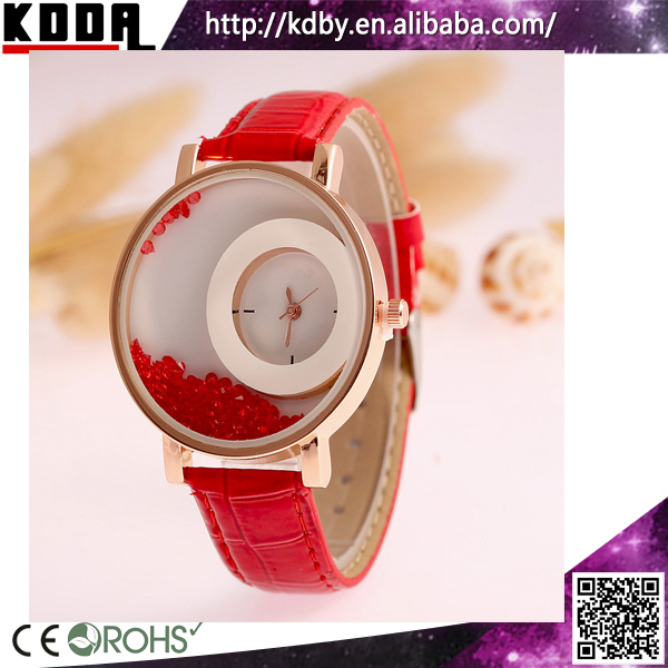 Customize Liquid Bead Flower Watch Dial Fob Women Latest Hand Watch