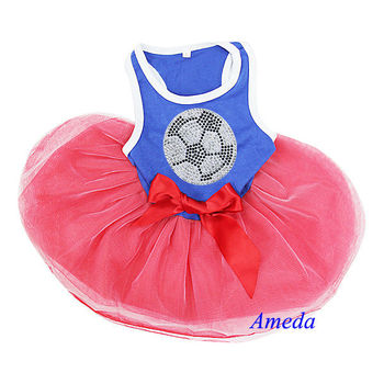 NEW Blue Red Rhinestone World Cup Football France Netherlands Dogs Clothes Party Dress XS-L