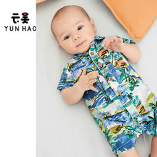 New Summer Coconut Palm Beach Style Pineapple Baby Rompers Baby Onesie