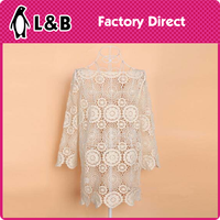 crochet plain lace ladies blouse sexy Sleeveless Hollow out dresses Crochet Lace Blouse
