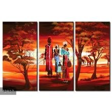 Handmade New Modern Group African landscape oil painting, Contemporary painting Family
