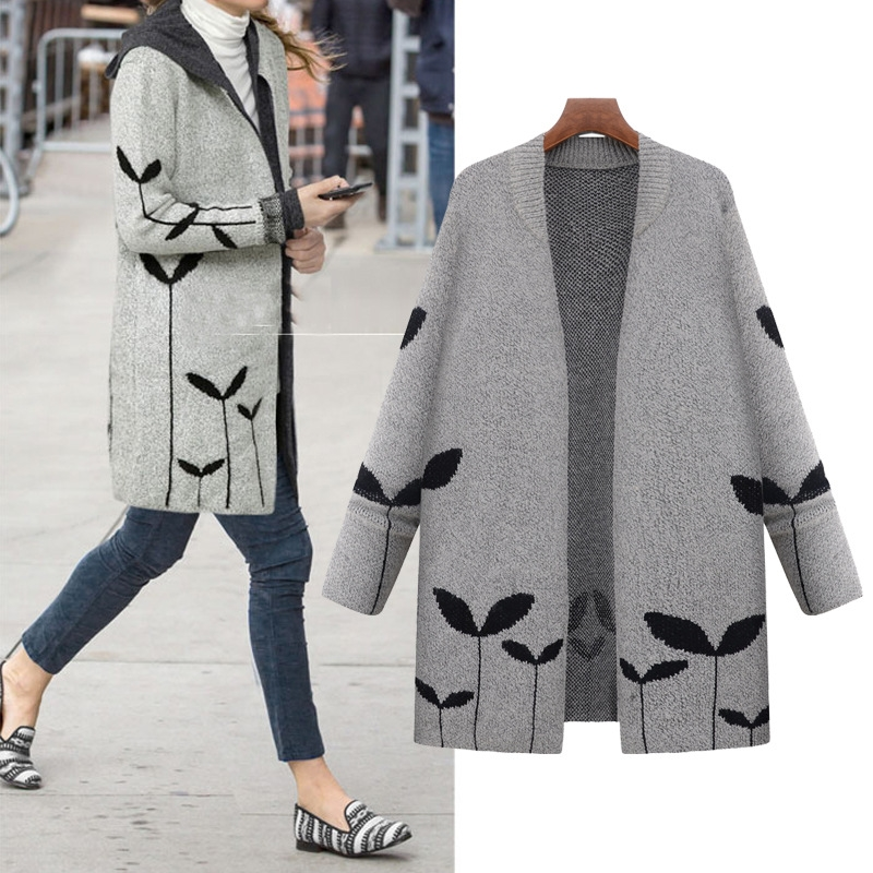new design spring casual coat with grass pattern knit blouse laides spring sweater cardigan coat for woman