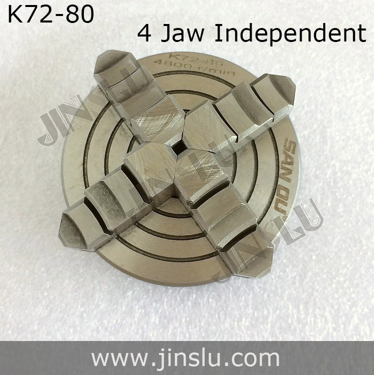 4 Jaw Lathe Chuck Independent Chuck K72-80 80mm Manual M6x3 Thread Mount Inside Jaws Accessories for Lathe