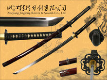 Handmade traditional samurai katana sword with 1060 carbon steel blade and iron tsuba JL922