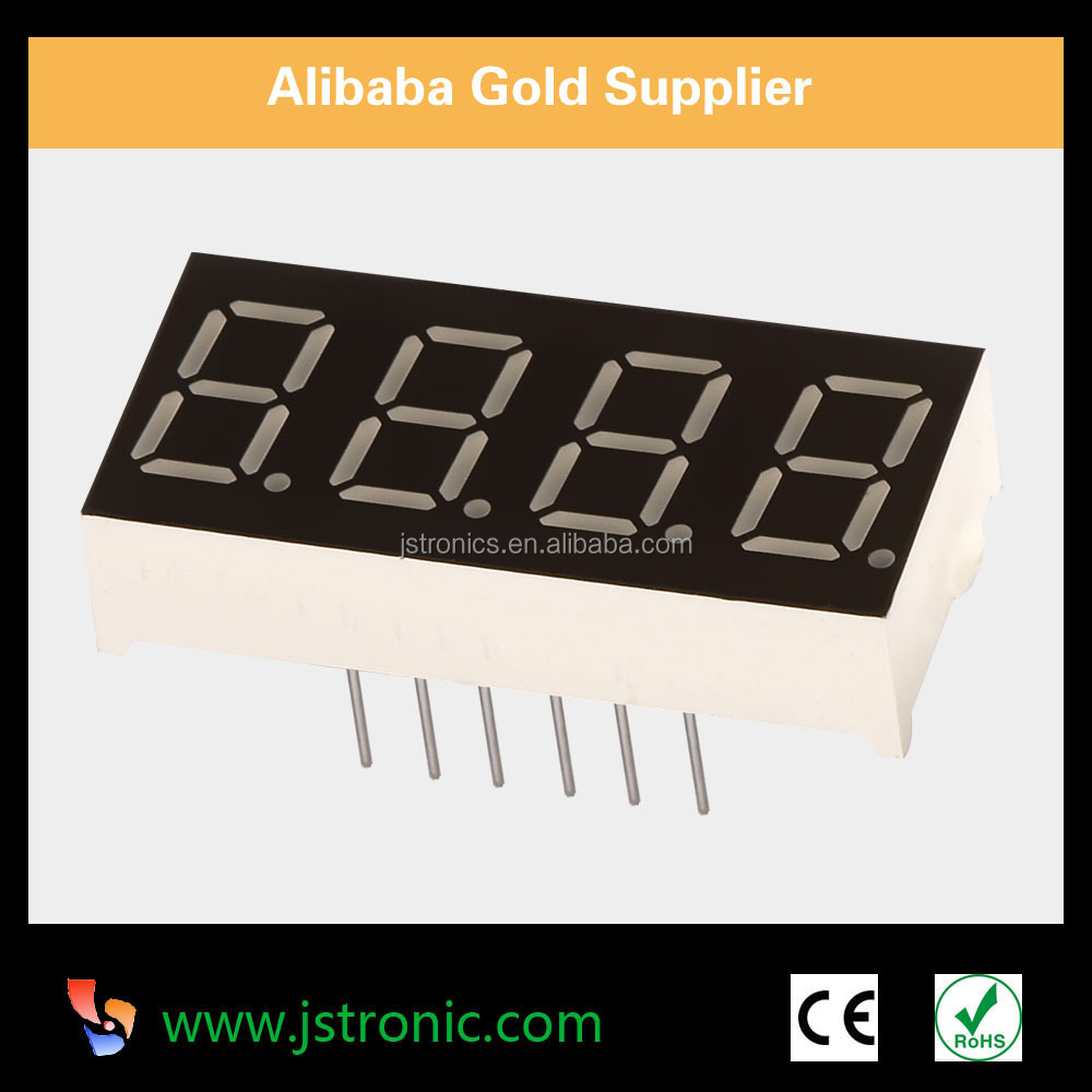 "Free samples 4 digit 7 segment led 0.36"" for temperature,clock display"