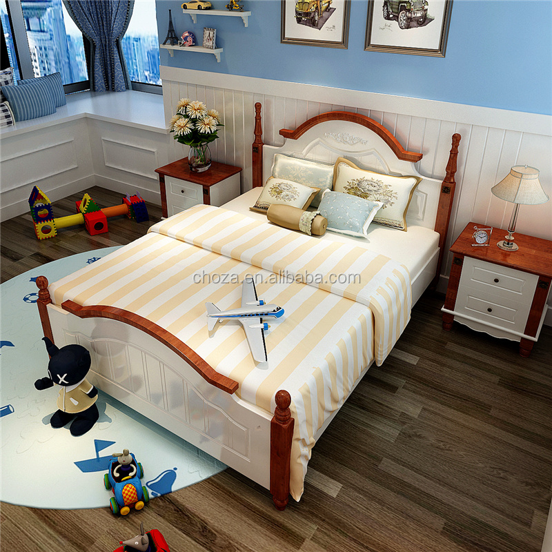 F50828A-1American wooden children bedroom furniture customized kids single double deck bed