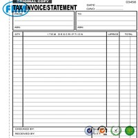 50 Page A4 Tax Invoice / Statement Book Carbonless in duplicate