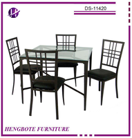 Beveled Glass Top Antique Dining Table Set Black PVC Covered Dining Chair and Table