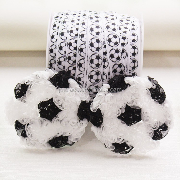 Soccer Ball Flower -Baseball Chiffon Rosettes - black and White Soccer Ball - Sports Ball Applique - 3""