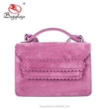 China wholesale custom purple hand bag with ruffle PU nubuck bag women fashion