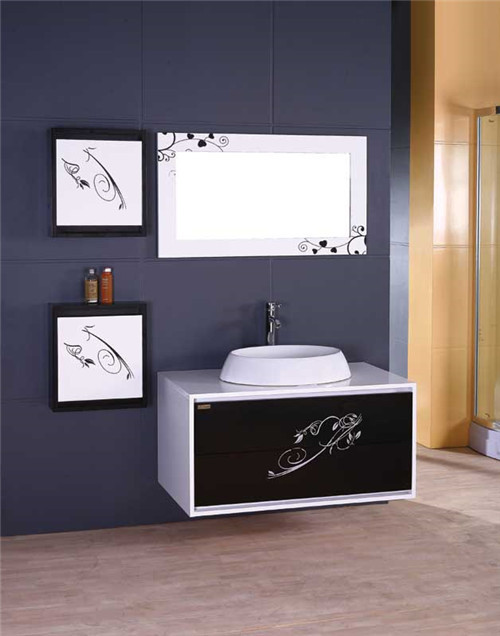 Chinese Style Commercial Vintage PVC Bathroom Cabinet Vanities