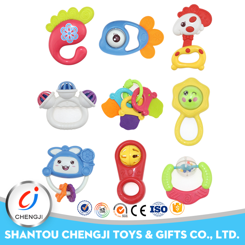 2018 New arrival educational rattle silicone baby teether toy