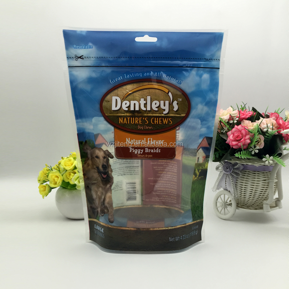 custom printed stand up bag for dog food packaging