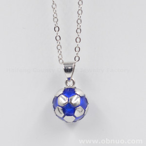 DN520 Fashion Costume Jewelry Football Shape Jewellery Necklace Pendant Latest Silver Necklace