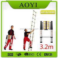 New design good quality portable folding 3.2m en131 european standard aluminium telescopic ladder