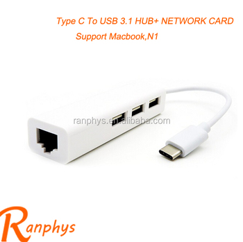 Ranphys multiport 3 port usb 3.0 type C usb hub+U-disk+mouse+net work card reader hub for mackbook N1