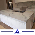 Customized design white Calacatta Quartz Slab with best price countertop