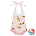 Baby Girls Latest Design Fashion Bubble Eomper Backless Pink Newborn Baby Playsuit